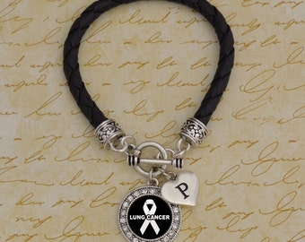 Custom Initial Lung Cancer Leather Bracelet