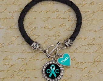 Custom Loved One Ovarian Cancer Leather Bracelet