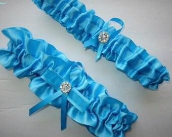 Turquoise Garter Set, Keepsake and Toss-away Garter Set, Ribbon Garter, Prom Garter,  Turquoise Garter, Bridal Garter, Wedding Garter