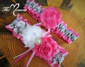 White Camo Garter with  Pink, Camo Wedding Garter Set, Pink Garter, Handmade Garter Set, Camo Wedding, Bridal Garter, Wedding Garter