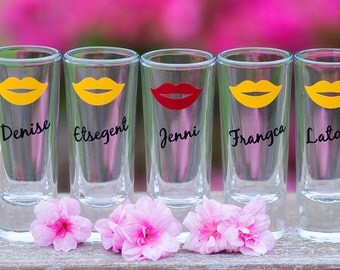 Shot glass. 2 oz, Bridesmaid gift, bride, soft pink lips, purple, black,  Gold, hot pink, sorority sisters.This listing is for one glass.