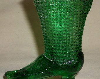 "SALE Vintage RARE Green DEGENHART Glass Victorian Skate Boot 4"" Tal"