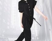 314 new city short sleeve black jumpsuit spring summer modern fashion design for women