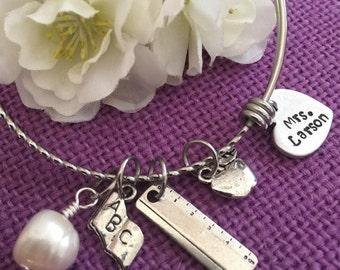 Teacher Gift Personalized - Teacher Bracelet - Teacher Jewelry - Gift for Teacher - Teacher Appreciation - End of School Year Gift - Teacher