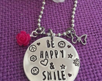Anti Bullying Jewelry - Positive Affirmation - Positive Jewelry - Be Happy and Smile - Positive Message - Happy Necklace - Happy Gif