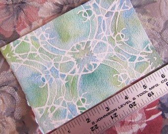 "Pattern Fortia in Blue-Green (4""x6"" Watercolor Painting)"