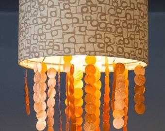 Drum Chandelier--Hanging Light Shades--Pendant Light--Drum Pendant--Drum Shade Light--Mid Century Light--Copper Light-Mid-Century Chandelier