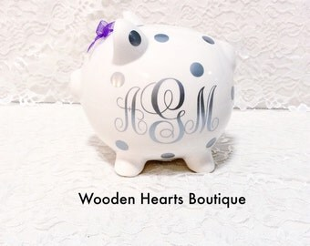 Large gold name personalized piggy bank by woodenheartsboutique - Engraved silver piggy bank ...