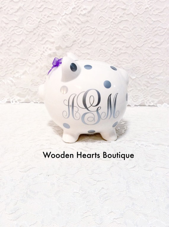 Items similar to large silver monogramed personalized piggy bank custom bank first birthday - Engraved silver piggy bank ...