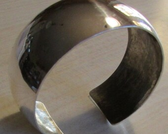 "Sterling Silver 1"" Wide Cuff Bracelet Signed HB"