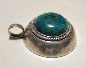 Sterling Silver and Chrysacolla Pendant