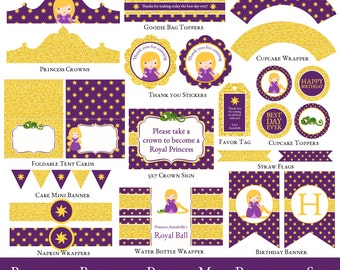 Rapunzel Party Mini Set, Rapunzel Birthday Party Printable, Rapunzel Birthday, Girl Birthday, Printable Party, INVITATION NOT INCLUDED