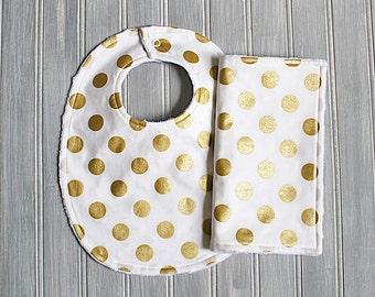 White and Gold Bib and Burp Cloth Set - Gender Neutral Minky Dot Bib and Burp Cloth Set - White with Metallic Gold Polka Dots Print