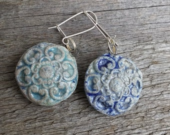 Rustic round ceramic earrings -  blue pottery earrings -  ceramic disc earrings