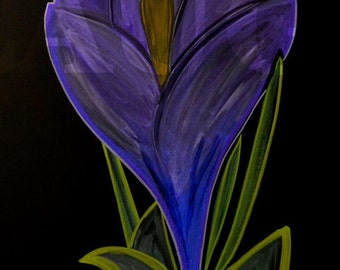 Crocus flower done in colored chalk