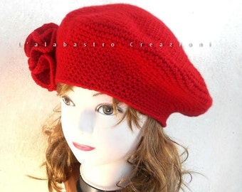 CASHMERE french beret, retro crocheted red hat with hyperbolic flower, unique gift idea for bohemian woman, vintage style cachemire bonnet