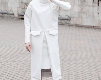 White coat - faux leather - long sleeve - futuristic style - turtleneck - white long coat - fashion women coat