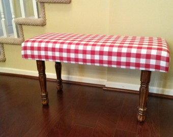 Upholstered Bench - Red and White Gingham