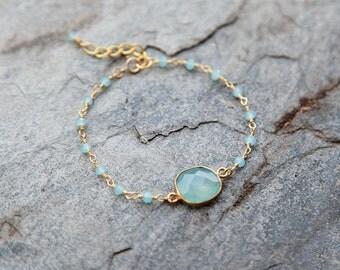 Aqua blue chalcedony Drop bracelet with beaded accents // bezel bracelet // beaded bracelet