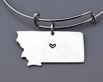 Montana bangle, Montana State Map charm, Montana State Silhouette, Montana US map, Long Distance Relationship, Best friends bangles