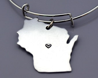Wisconsin bangle, Wisconsin State Map charm, Wisconsin State Silhouette, Wisconsin US map, Long Distance Relationship, Best friends bangles