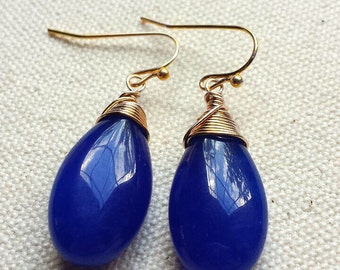 Cobalt Blue Earrings, Royal Blue Earrings, Gold and Blue Earrings