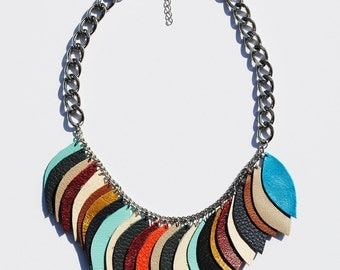 Mult-colored Leather Leaf Necklace