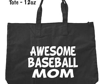 Awesome Baseball Mom Tote Bag - Baseball Tote Bag - Bags and Totes - Baseball Mom Bag - Baseball Present - Gifts For Mom
