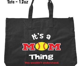 Softball Mom Tote Bag - Softball Tote Bag - Bags and Totes - Softball Mom Bag - Softball Present - Gifts For Mom