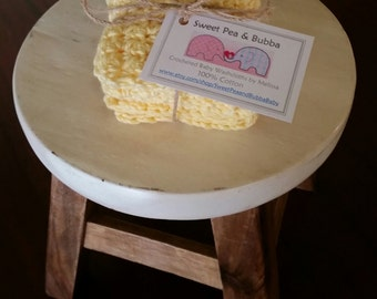 Bubble Buttercup Crocheted Baby Washcloths (set of 3)