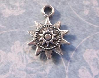 Tibetan silver sun charms pendants drops 10  charms