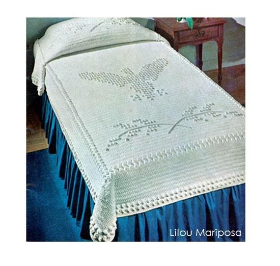 Crochet bedspread pattern vintage popcorn eagle vintage for Studio one bed cover