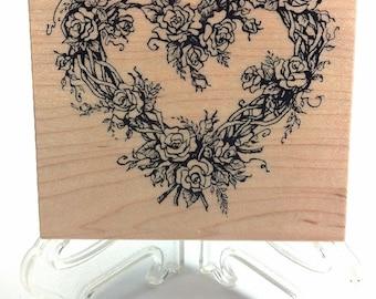 Rose Vine Heart PSX G-553 Rubber Stamp