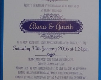 Royal Blue Pocket fold Wedding Invitation. Mummy and Daddy Are Getting Married! Cute wording, traditional with a twist, rhinestones