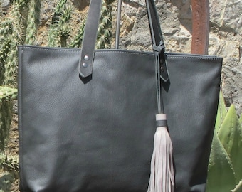Dark Gray Leather Tote Bag • Large Everyday Tote • Large Beza Market Bag With Tassel