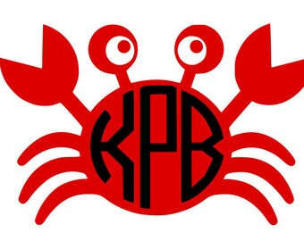Glitter Vinyl crab monogram iron on decal multiple sizes, colors, and fonts