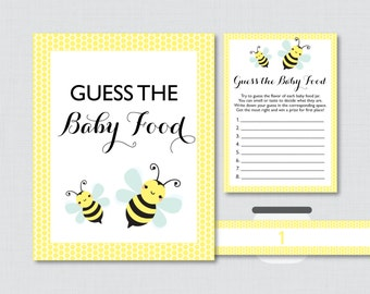 Bumble Bee Baby Shower Game Guess the Baby Food Activity in Yellow - Printable Baby Shower Baby Food Game, Baby Food Activity - 0021