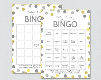 Yellow and Gray Baby Shower Bingo Cards - Printable Blank Bingo Cards AND PreFilled Cards - Yellow and Silver Baby Shower Bingo - 0023-Y