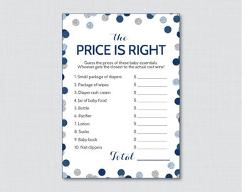 Navy and Gray Baby Shower Price is Right Game - Printable Baby Shower Game Instant Download - Navy & Silver Glitter Price is Right - 0023-N