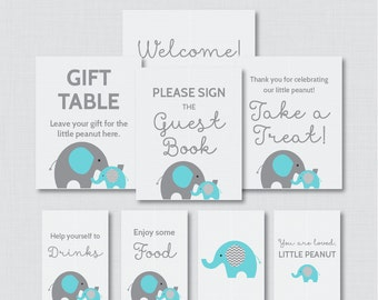 Printable Elephant Baby Shower Table Signs - EIGHT Signs! Welcome Sign, Favors Sign, etc - Instant Download - Aqua and Gray Signs 0024-A