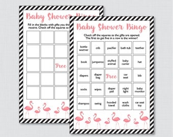 Flamingo Baby Shower Bingo Cards - Printable Blank Bingo Cards AND PreFilled Bingo Cards - Flamingo Baby Bingo Cards Game - 0031