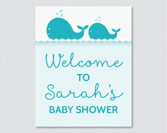 Whale Baby Shower Welcome Sign Printable Personalized Shower Welcome Sign - Aqua Nautical Baby Shower Customized Sign - 0033-A