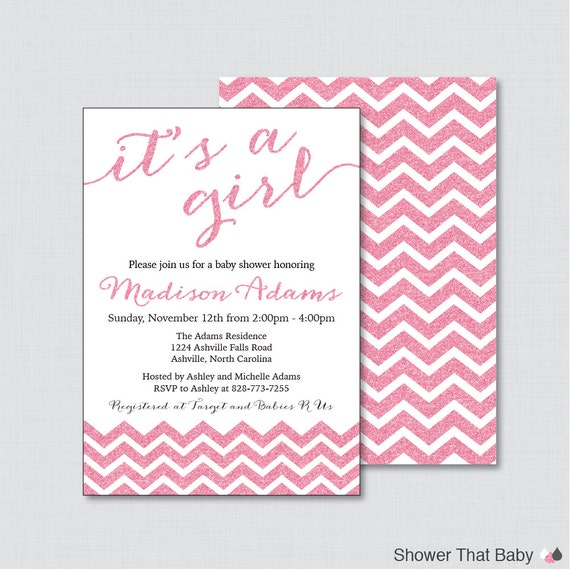 printable or printed glitter baby shower invitations in pink glitter