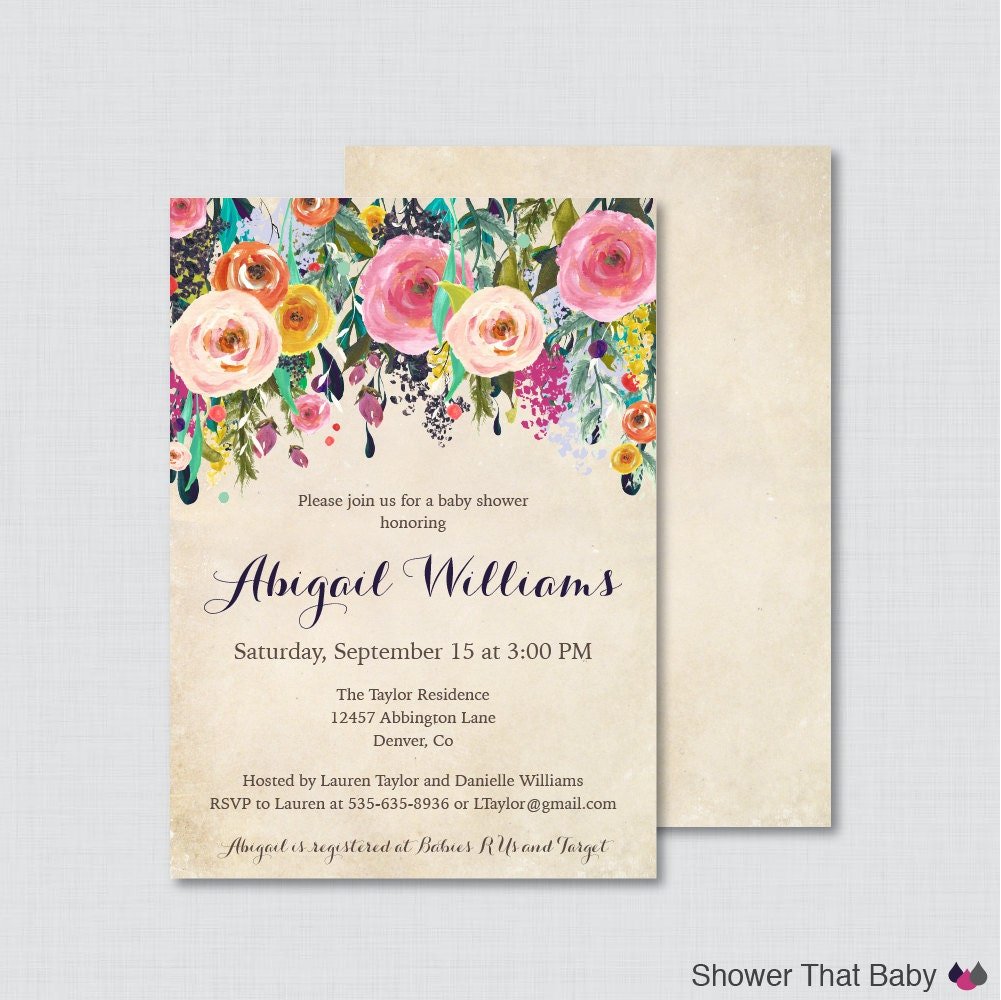 Floral Baby Showers ~ Floral baby shower invitation printable or printed flower