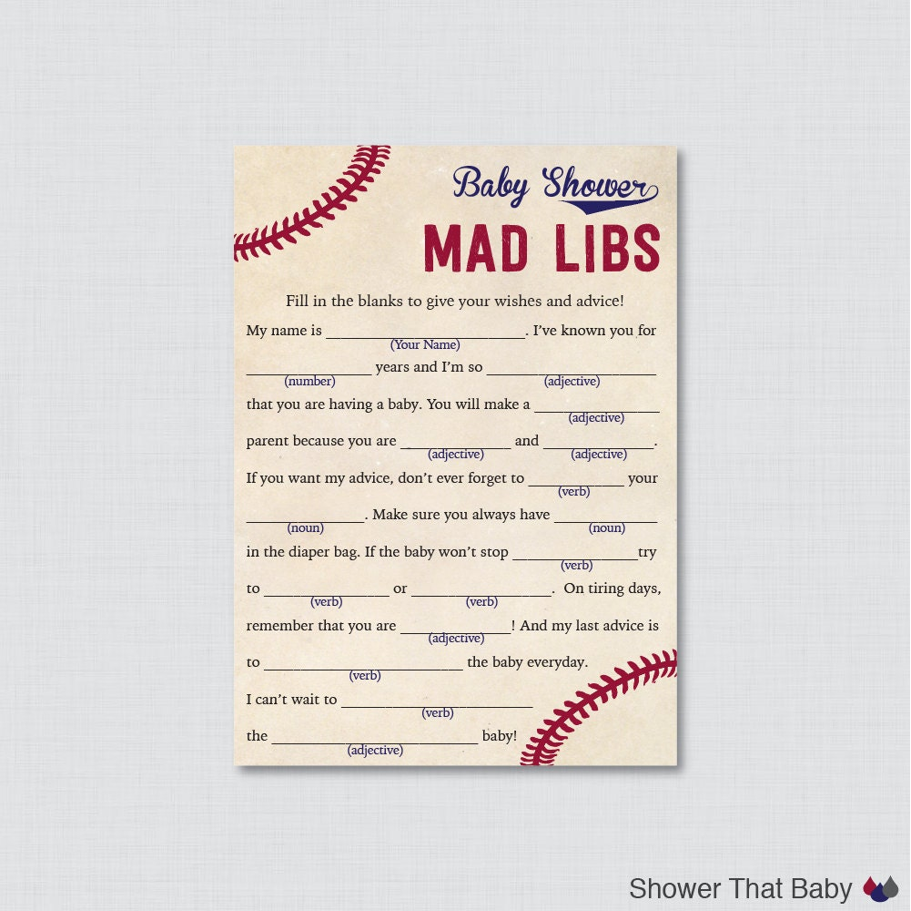baseball baby shower mad libs printable baby shower advice