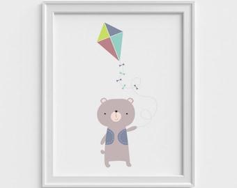 Bear art print, nursery wall art, art prints for kids, wall decor art print, nursery art print, kid wall art, kids art print, bear, kite
