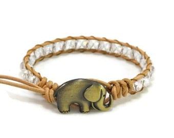 Beaded Wrap Bracelet, Elephant Bracelet, Elephant Jewelry, Leather Wrap Bracelet, Leather Bracelet, Crystal Beaded Wrap, Bohemian Bracelet