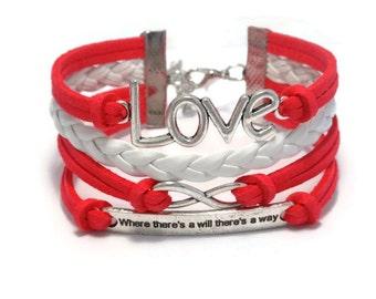 Red Suede Infinity Love Bracelet, Infinity Love Bracelet, Faux Suede, Multilayer bracelet, Leather Braid Bracelet, Gift Her, Fashion Jewelry