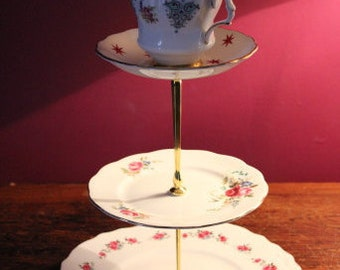 Mad hatter cake stand, teacup cake stand, jewellery stand. 3 tier stand, tea parties, gift, wedding decor, Alice in wonderland, vintage home