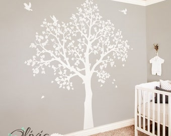 White Tree Wall Mural. Large Baby Nursery Decal. Tree With Birds -NT043